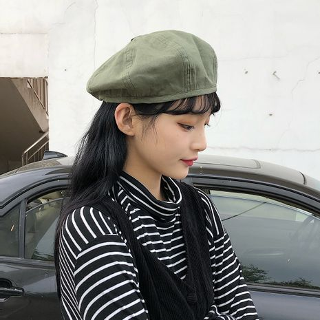 Autumn new button double-sided beret solid color Korean fashion octagonal hat  NHTQ250338's discount tags