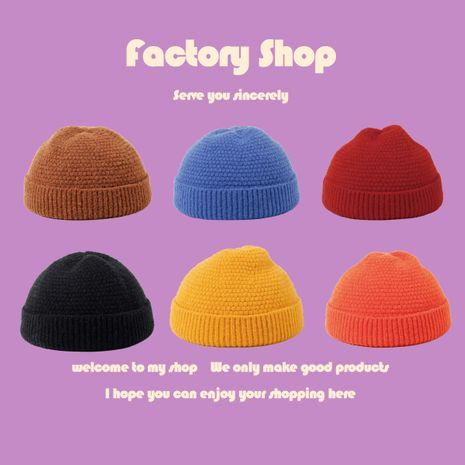 Autumn new solid color knitted hat candy color landlord hat retro yuppie adjustable melon leather hat  NHTQ250341's discount tags