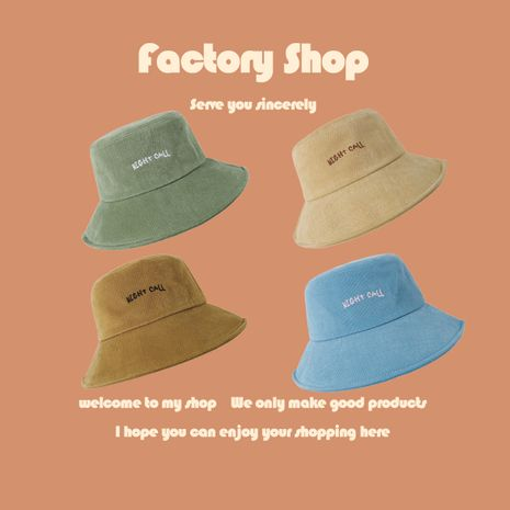 Fisherman hat female embroidered letter sun hat summer big along sun hat cap Korean bucket hat NHTQ250344's discount tags