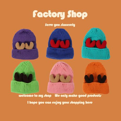 cute antlers thick warm woolen hat women fashion retro knitted hat  NHTQ250345's discount tags