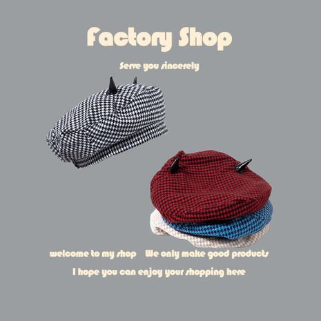 Retro horns plaid beret autumn and winter new ins net red octagonal hat fashion painter hat NHTQ250346's discount tags
