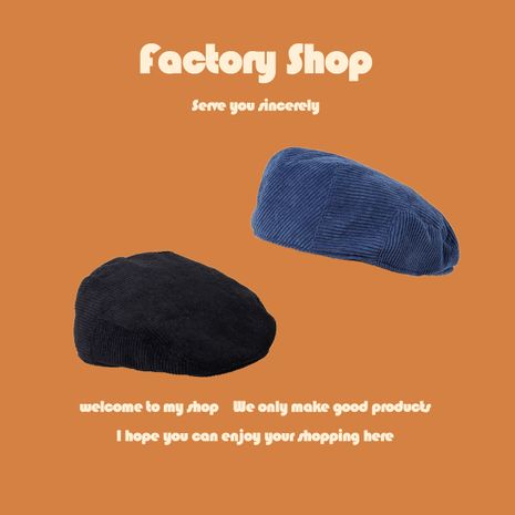 Fashion corduroy forward hat solid color retro autumn hat wild octagonal hat male painter hat NHTQ250347's discount tags