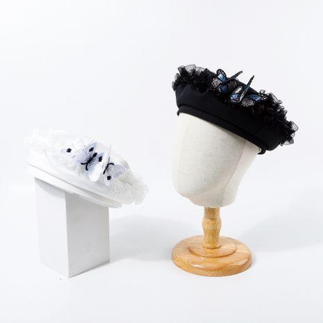 Boina de encaje de color puro sombrero de mariposa moda ins salvaje retro pequeña fragancia otoño sombrero de copa nuevo NHTQ250350's discount tags