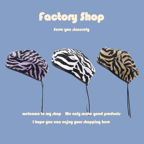 Retro zebra fashion wild navy style octagonal hat male British trend painter hat wholesale NHTQ250352's discount tags