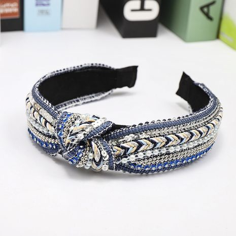 New bohemian woven Korean knotted headband wholesale NHDM250365's discount tags