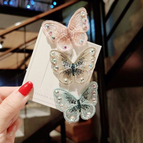 korean hot style butterfly headdress retro embroidery  side clip wholesale  NHDM250369's discount tags
