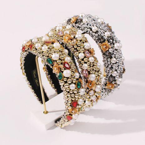 Pearl Thick Sponge Headband Crystal Wide Edge Headband wholesale NHMD250408's discount tags
