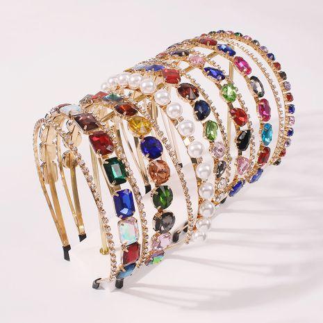 Diadema de perlas de imitación de diamantes de doble capa aleación nueva venda al por mayor NHMD250405's discount tags