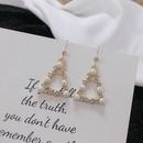 Geometric triangle retro pearl diamond ear hooks creative fashionable earrings wholesale NHWF250385