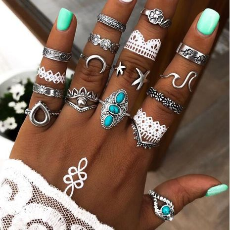 16 pieces of ring set creative retro alloy carved turquoise ring wholesale NHPJ250389's discount tags