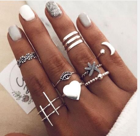 retro alloy love joint ring set 10-piece combination creative ring wholesale NHPJ250391