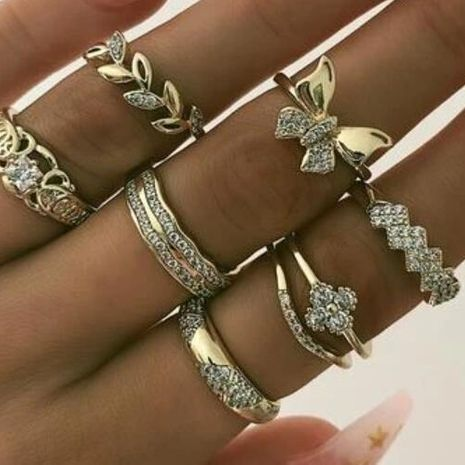 nouvel alliage bague papillon feuille de diamant ensemble bague géométrique rétro 7 pièces en gros NHPJ250393's discount tags