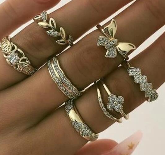 nouvel alliage bague papillon feuille de diamant ensemble bague gomtrique rtro 7 pices en gros NHPJ250393