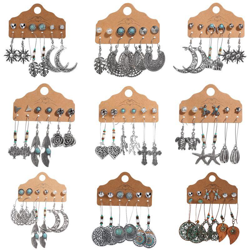 sun leaf moon 6 pairs of earrings creative retro hollow carved earrings wholesale NHPJ250399