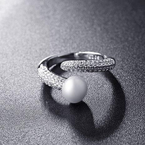 Mode nouvelle simple galvanoplastie bague en or véritable diamant perle réglable en gros NHLJ250402's discount tags