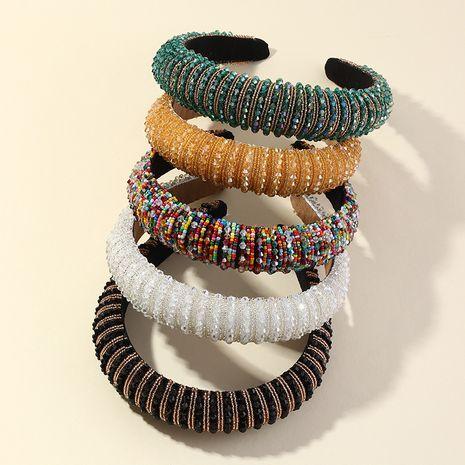fashion diamond sponge Baroque catwalk headband wholesale NHAU250456's discount tags