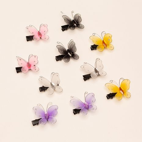 Korea 10 butterfly hairpin blue girl zircon duckbill clip headdress wholesale NHAU250458's discount tags