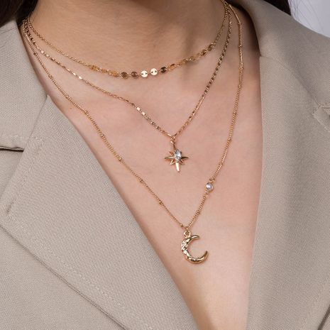 fashion   star moon necklace popular card neck multi-layer copper necklace NHAN250519's discount tags