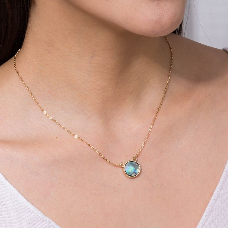 fashion new  round  abalone shell  clavicle chain necklace  NHAN250533