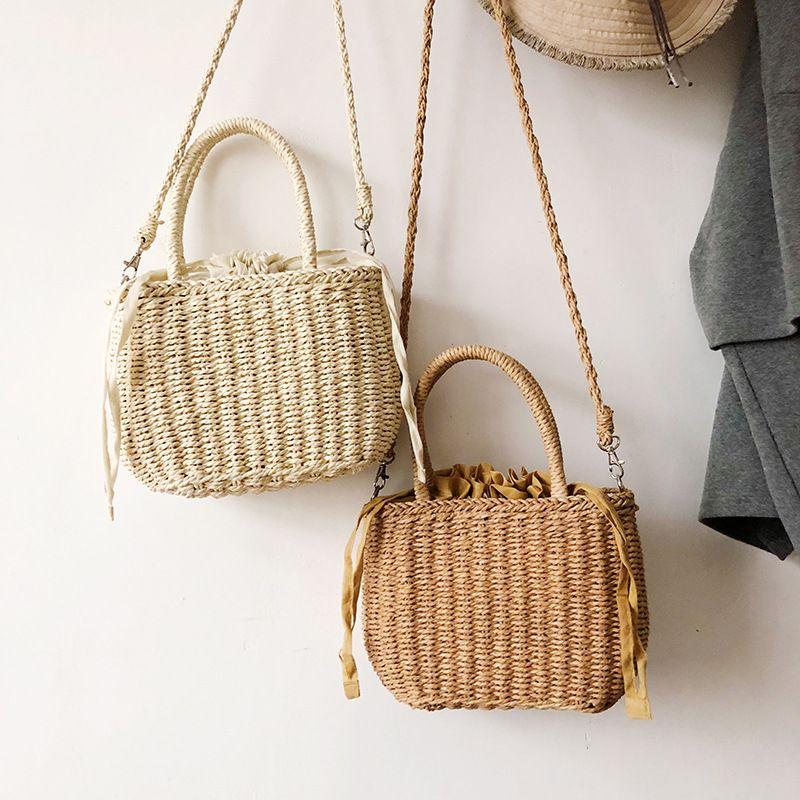 Korea messenger bag allmatch shoulder beach woven  handbag wholesale NHLH250598