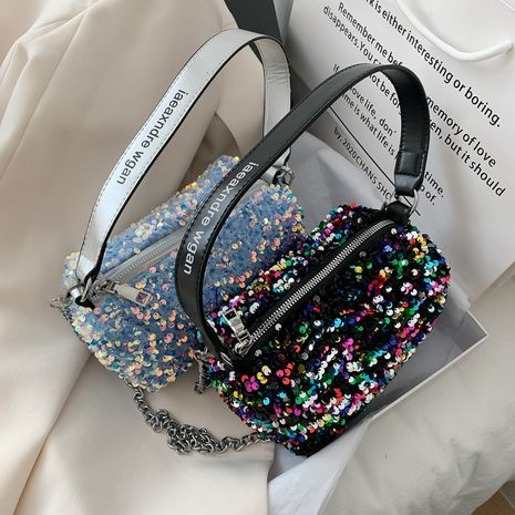 new fashion popular sequined one-shoulder handbag all-match chain messenger bag wholesale NHLH250608's discount tags