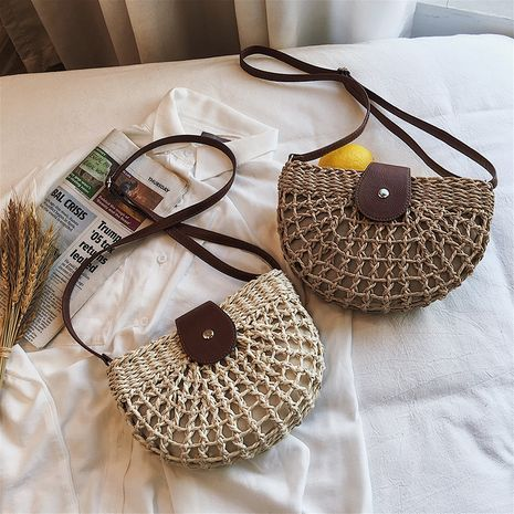 summer woven one-shoulder saddle fashion messenger straw bag wholesale NHLH250617's discount tags