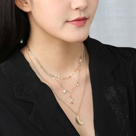Korean style multi-layered fashion letter K metal star moon necklace clavicle chain wholesale NHAN250726's discount tags