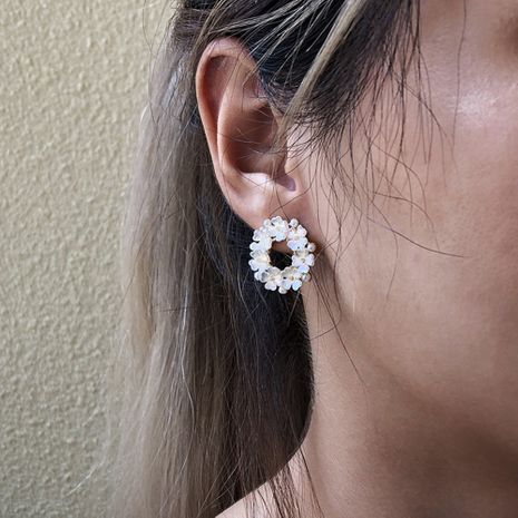 alloy flower pearl resin simple earrings wholesale NHMD250784's discount tags