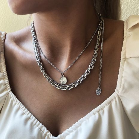 hot-selling simple   punk style trend multi-layer coin  necklace wholesale NHMD250789's discount tags