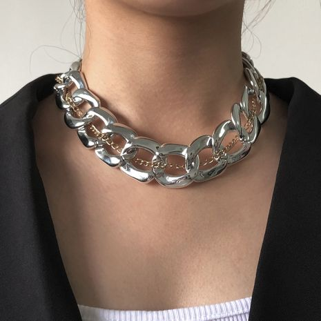 simple  exaggerated metal  texture necklace street punk necklace NHMD250793's discount tags