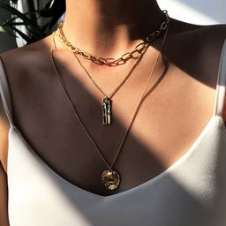 fashion geometric tassel disc alloy pendant long necklace  NHMD250802