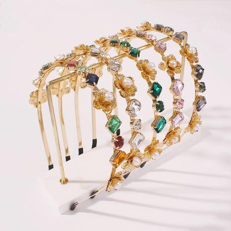 Diadema de diamantes de aleación de moda al por mayor de flores de perlas NHMD250877's discount tags