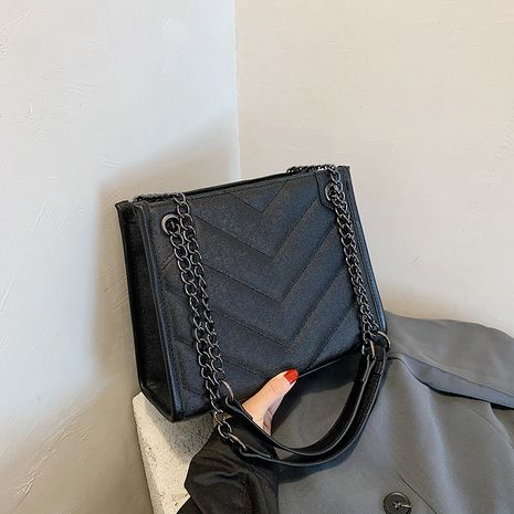 Korean fashion  casual one-shoulder diamond  all-match color tote bag NHJZ250816's discount tags