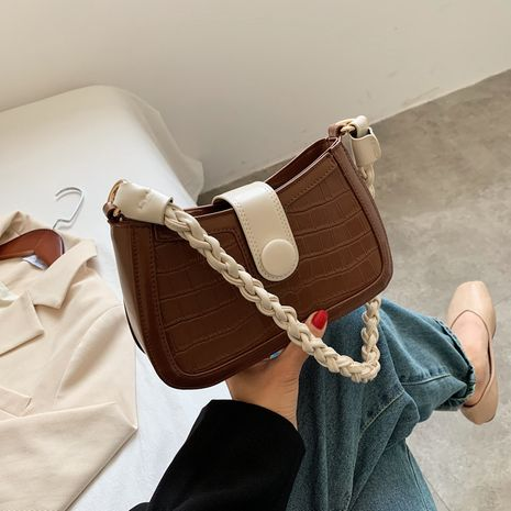 new trendy fashion one-shoulder crossbody all-match stone pattern baguette bag NHJZ250823's discount tags