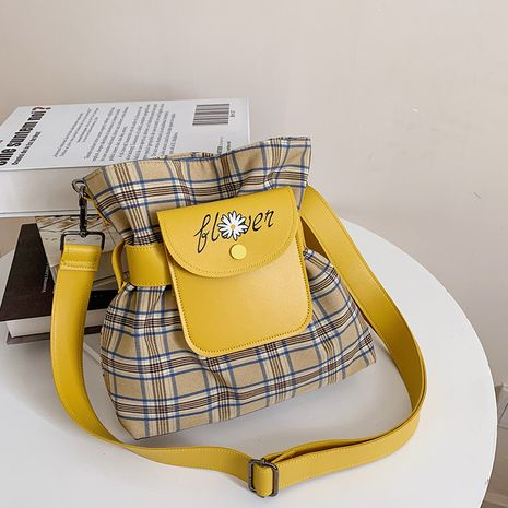 new art canvas bag summer lovely Korean single shoulder lattice messenger bag wholesale NHJZ250833's discount tags
