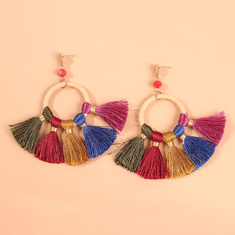 Fashion color tassel wild ethnic style alloy earrings for women wholesale NHMD250880's discount tags