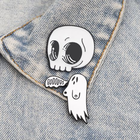 new Halloween series skull ghost Boom cowboy badge skull brooch wholesale nihaojewelry NHMO240316's discount tags