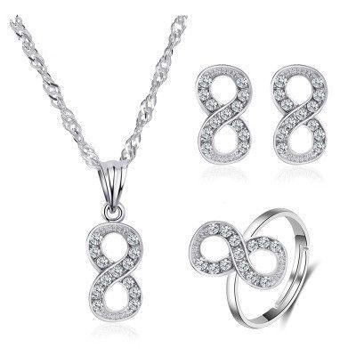 nouvelle mode all-match diamant en forme de 8 collier boucles d'oreilles bague trois pièces ensemble de bijoux en gros NHMO240321's discount tags