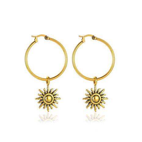vente chaude rétro soleil fleur personnalité simple boucle d'oreille courte soleil en gros NHMO240323's discount tags