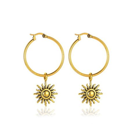 hot sale retro sun flower personality  simple short sun earring wholesale  NHMO240323's discount tags