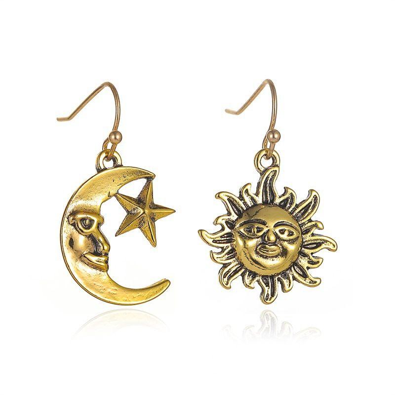 new retro sun moon asymmetric earrings ethnic style earrings wholesale nihaojewelry NHMO240328