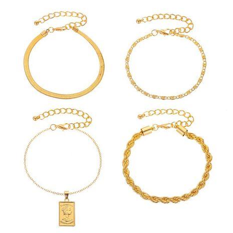 nouvelle mode quatre pièces bracelet twist chaîne portrait pendentif bracelet quatre pièces femme en gros nihaojewelry NHMO240329's discount tags