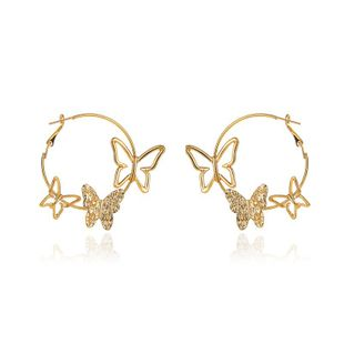new  exaggerated simple  personality hollow three butterfly earrings wholesale  NHMO240333's discount tags