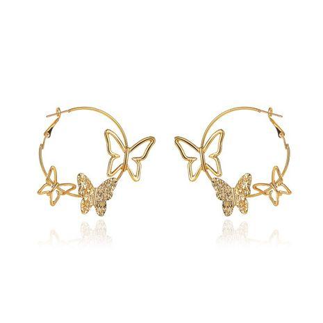 nouvelle personnalité simple exagérée boucles d'oreilles trois papillons creux en gros NHMO240333's discount tags