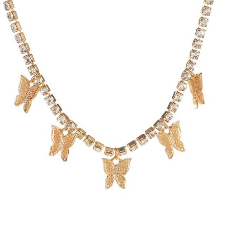 nouveau collier pendentif insecte de mode chaîne de la clavicule strass papillon pendentif collier en gros nihaojewelry NHMO240334's discount tags