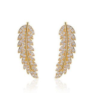 new  fashion wild full diamond leaf  personality simple micro-inlaid zircon leaf earrings wholesale   NHMO240336's discount tags