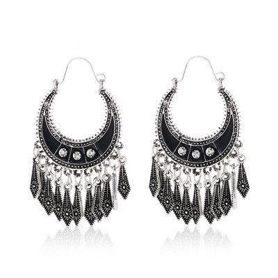Nuevo estilo étnico borla moda bohemia negro diamante pequeño flecha colgante pendientes NHMO240339's discount tags