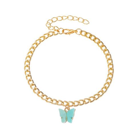 new fashion sweet style color acrylic butterfly anklet metal thick chain wholesale nihaojewelry NHMO240341's discount tags