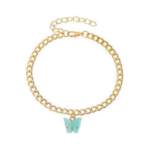 nouvelle mode style doux couleur acrylique papillon cheville métal chaîne épaisse en gros nihaojewelry NHMO240341's discount tags