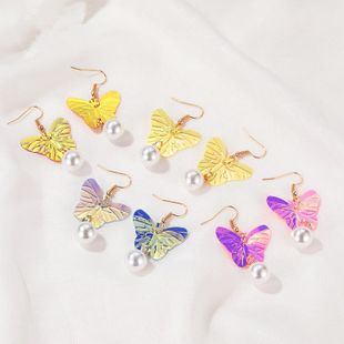 new  creative gradient  exaggerated style pearl fluorescent butterfly earrings NHMO240342's discount tags